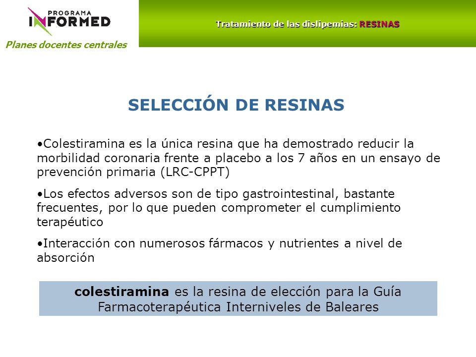Planes docentes centrales Tratamiento de las dislipemias: RESINAS SELECCIÓN DE RESINAS colestiramina es la resina de elección para la Guía Farmacotera