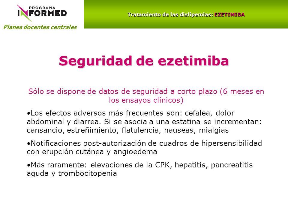 Planes docentes centrales Tratamiento de las dislipemias: EZETIMIBA Seguridad de ezetimiba Sólo se dispone de datos de seguridad a corto plazo (6 mese