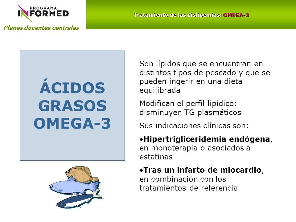 Planes docentes centrales Tratamiento de las dislipemias: OMEGA-3 ÁCIDOS GRASOS OMEGA-3 Son lípidos que se encuentran en distintos tipos de pescado y