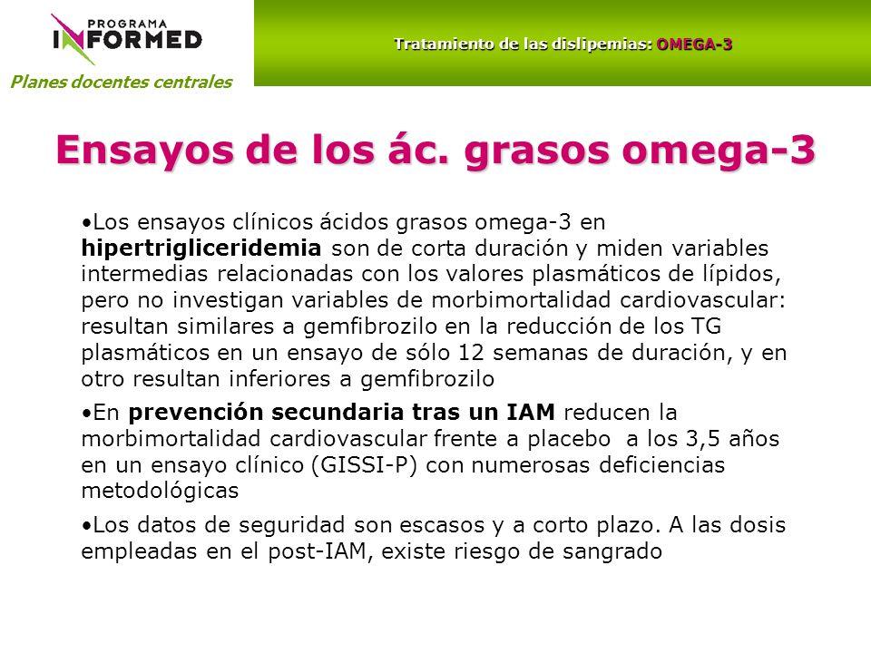 Planes docentes centrales Tratamiento de las dislipemias: OMEGA-3 Ensayos de los ác. grasos omega-3 Los ensayos clínicos ácidos grasos omega-3 en hipe
