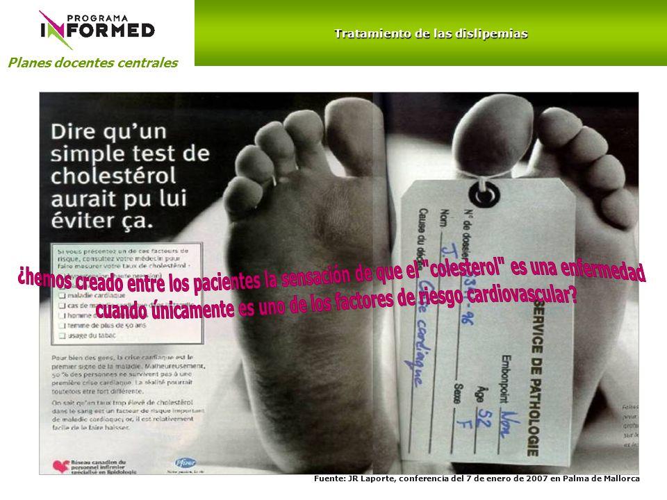 Planes docentes centrales Tratamiento de las dislipemias Fuente: JR Laporte, conferencia del 7 de enero de 2007 en Palma de Mallorca