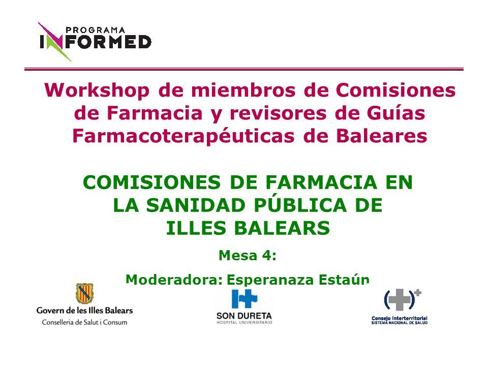 COMISIONES DE FARMACIA EN LA SANIDAD PÚBLICA DE ILLES BALEARS Mesa 4: Moderadora: Esperanaza Estaún Workshop de miembros de Comisiones de Farmacia y revisores de Guías Farmacoterapéuticas de Baleares