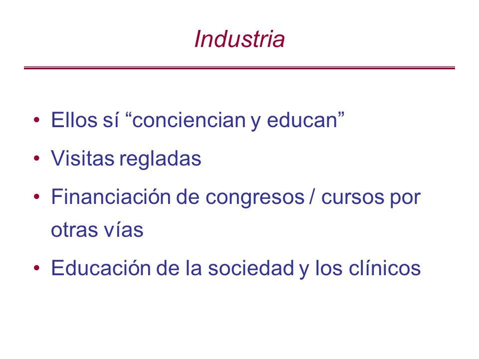 Industria Ellos sí conciencian y educan Visitas regladas Financiación de congresos / cursos por otras vías Educación de la sociedad y los clínicos