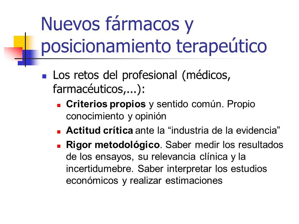 Nuevos fármacos y posicionamiento terapeútico Los retos del profesional (médicos, farmacéuticos,...): Criterios propios y sentido común.