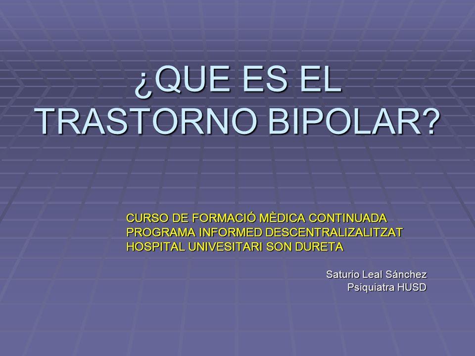 Espectro Bipolar (Goodwin y cols, 1990) Manía Hipomanía Normal Depresión Depresión Grave Variación de animo normal Pesonalidad Ciclotimica Ciclotimia Bipolar II Manía Unipolar Bipolar I