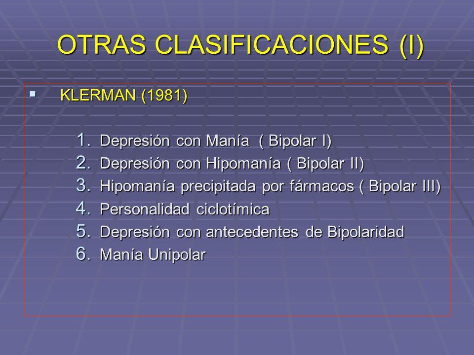 OTRAS CLASIFICACIONES (I) OTRAS CLASIFICACIONES (I) KLERMAN (1981) KLERMAN (1981) 1. Depresión con Manía ( Bipolar I) 2. Depresión con Hipomanía ( Bip