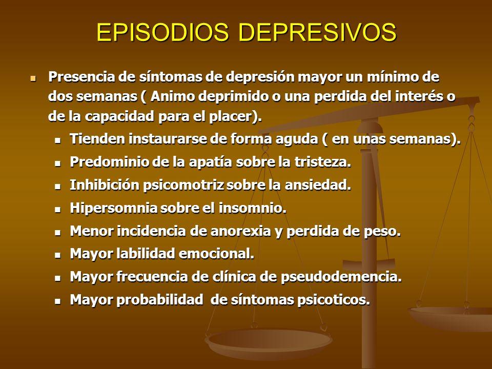 EPISODIOS DEPRESIVOS Presencia de síntomas de depresión mayor un mínimo de dos semanas ( Animo deprimido o una perdida del interés o de la capacidad p