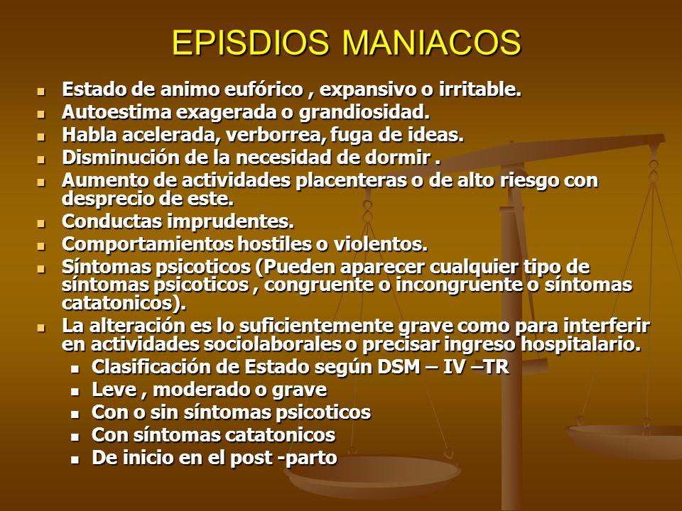 EPISDIOS MANIACOS EPISDIOS MANIACOS Estado de animo eufórico, expansivo o irritable. Estado de animo eufórico, expansivo o irritable. Autoestima exage