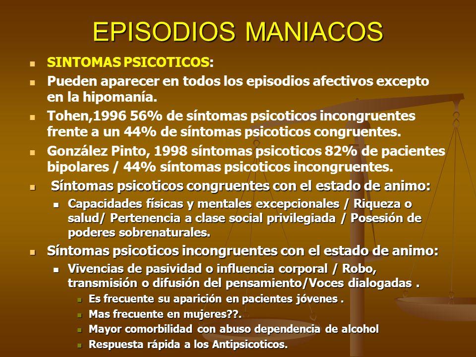 EPISODIOS MANIACOS SINTOMAS PSICOTICOS: Pueden aparecer en todos los episodios afectivos excepto en la hipomanía. Tohen,1996 56% de síntomas psicotico