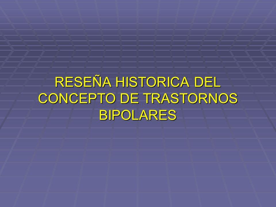 RESEÑA HISTORICA DEL CONCEPTO DE TRASTORNOS BIPOLARES (I) Escuela Hipocrática: Melancolía / Manía / Alteraciones en el equilibro de los humores Localizan la etiología en el Cerebro.