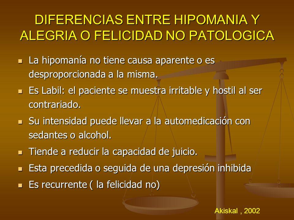 DIFERENCIAS ENTRE HIPOMANIA Y ALEGRIA O FELICIDAD NO PATOLOGICA La hipomanía no tiene causa aparente o es desproporcionada a la misma. La hipomanía no