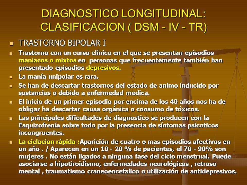 DIAGNOSTICO LONGITUDINAL: CLASIFICACION ( DSM - IV - TR) TRASTORNO BIPOLAR I TRASTORNO BIPOLAR I Trastorno con un curso clínico en el que se presentan