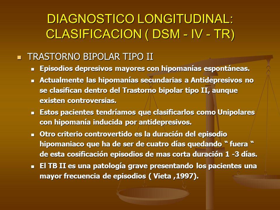 DIAGNOSTICO LONGITUDINAL: CLASIFICACION ( DSM - IV - TR) TRASTORNO BIPOLAR TIPO II TRASTORNO BIPOLAR TIPO II Episodios depresivos mayores con hipomaní