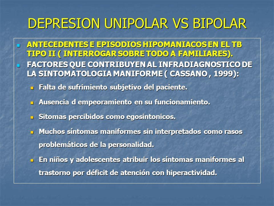 DEPRESION UNIPOLAR VS BIPOLAR ANTECEDENTES E EPISODIOS HIPOMANIACOS EN EL TB TIPO II ( INTERROGAR SOBRE TODO A FAMILIARES). ANTECEDENTES E EPISODIOS H