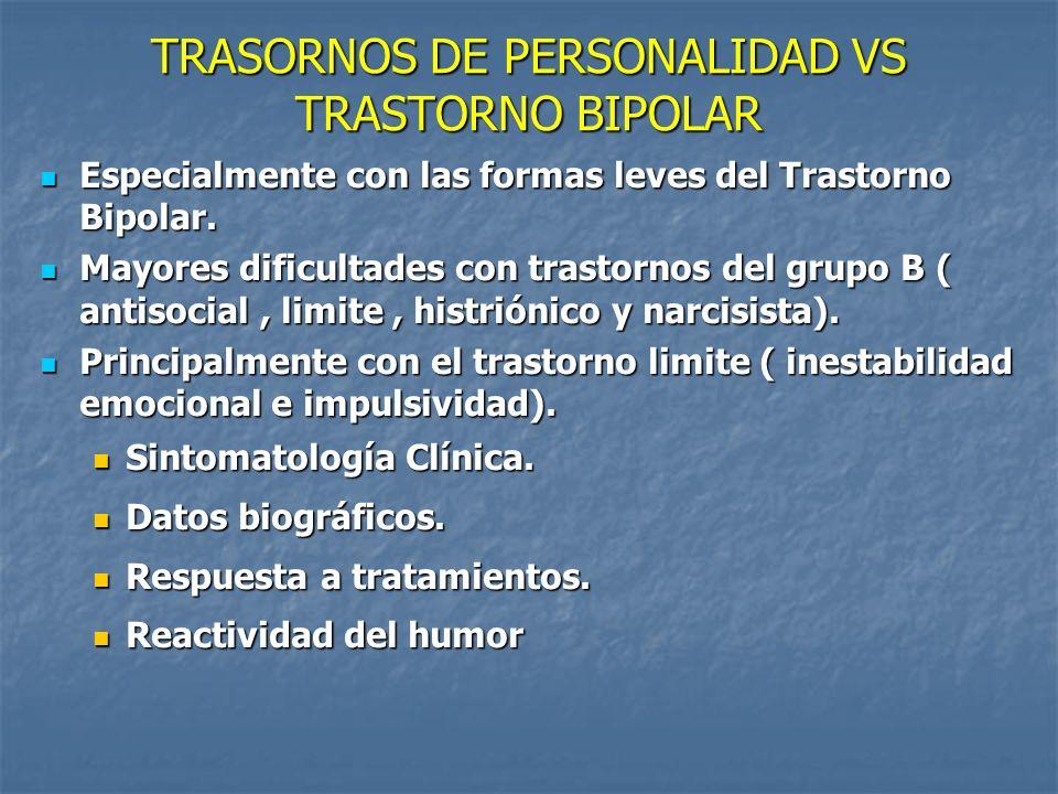 TRASORNOS DE PERSONALIDAD VS TRASTORNO BIPOLAR Especialmente con las formas leves del Trastorno Bipolar. Especialmente con las formas leves del Trasto