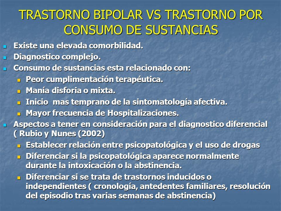 TRASTORNO BIPOLAR VS TRASTORNO POR CONSUMO DE SUSTANCIAS Existe una elevada comorbilidad. Existe una elevada comorbilidad. Diagnostico complejo. Diagn