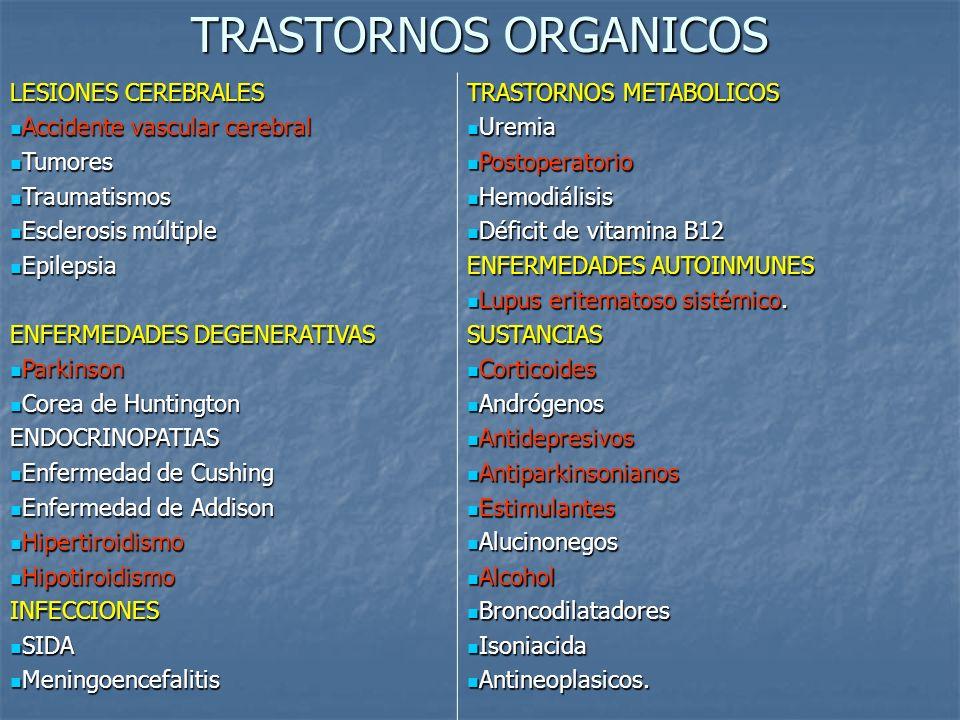TRASTORNOS ORGANICOS LESIONES CEREBRALES Accidente vascular cerebral Accidente vascular cerebral Tumores Tumores Traumatismos Traumatismos Esclerosis