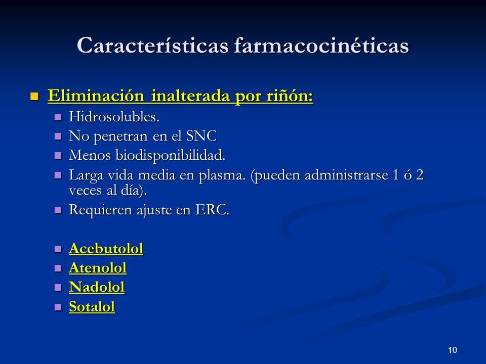 10 Características farmacocinéticas Eliminación inalterada por riñón: Eliminación inalterada por riñón: Hidrosolubles. Hidrosolubles. No penetran en e