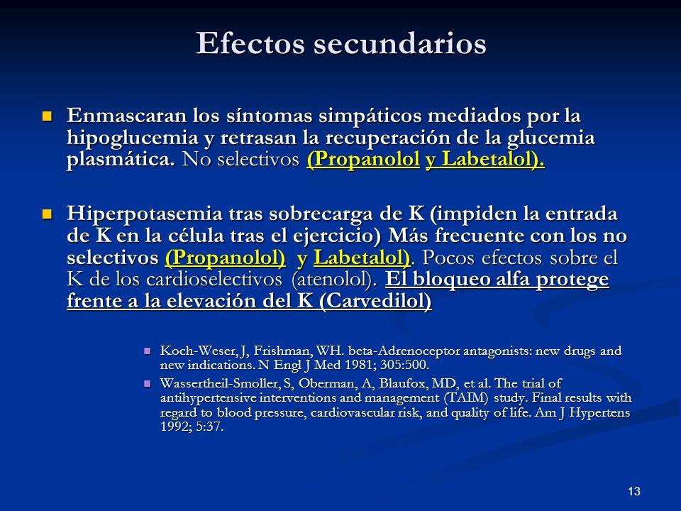 13 Efectos secundarios Enmascaran los síntomas simpáticos mediados por la hipoglucemia y retrasan la recuperación de la glucemia plasmática. No select