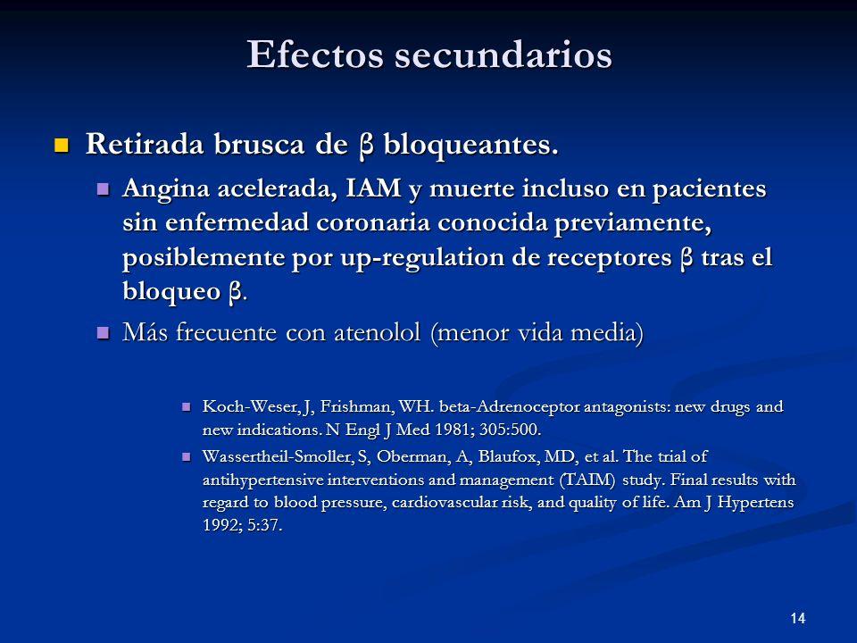 14 Efectos secundarios Retirada brusca de β bloqueantes. Retirada brusca de β bloqueantes. Angina acelerada, IAM y muerte incluso en pacientes sin enf