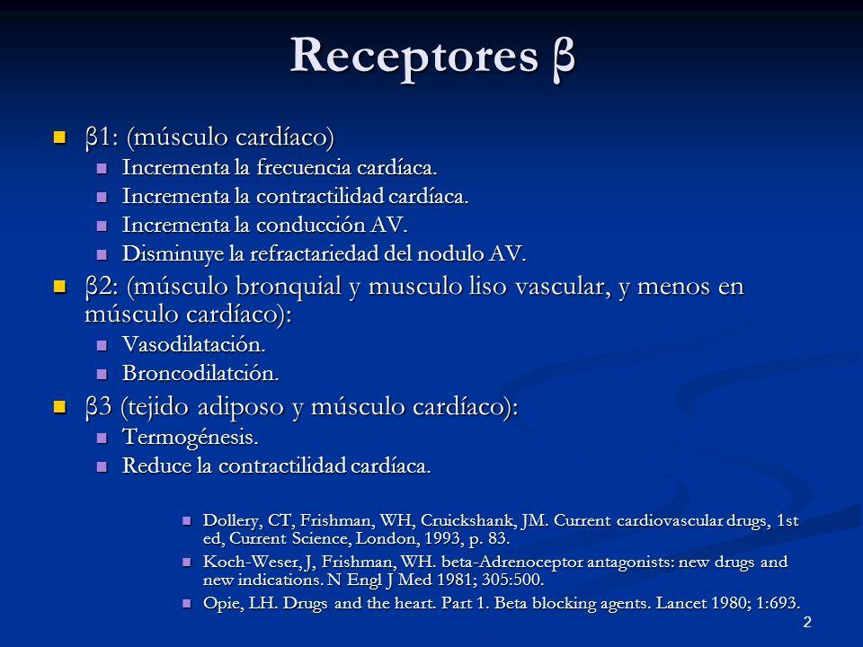 2 Receptores β β1: (músculo cardíaco) β1: (músculo cardíaco) Incrementa la frecuencia cardíaca. Incrementa la frecuencia cardíaca. Incrementa la contr