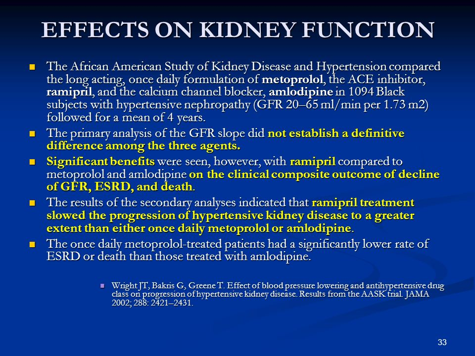 33 EFFECTS ON KIDNEY FUNCTION The African American Study of Kidney Disease and Hypertension compared the long acting, once daily formulation of metopr