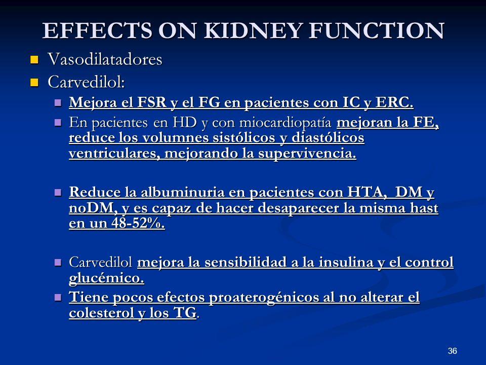 36 EFFECTS ON KIDNEY FUNCTION Vasodilatadores Vasodilatadores Carvedilol: Carvedilol: Mejora el FSR y el FG en pacientes con IC y ERC. Mejora el FSR y