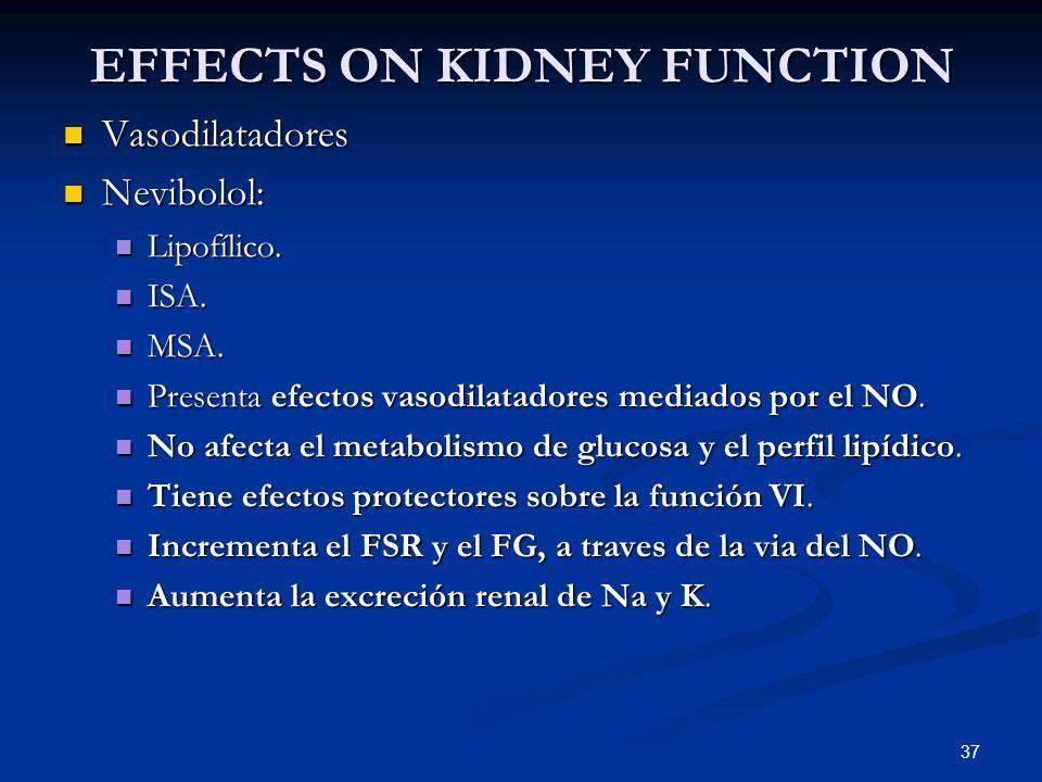 37 EFFECTS ON KIDNEY FUNCTION Vasodilatadores Vasodilatadores Nevibolol: Nevibolol: Lipofílico. Lipofílico. ISA. ISA. MSA. MSA. Presenta efectos vasod