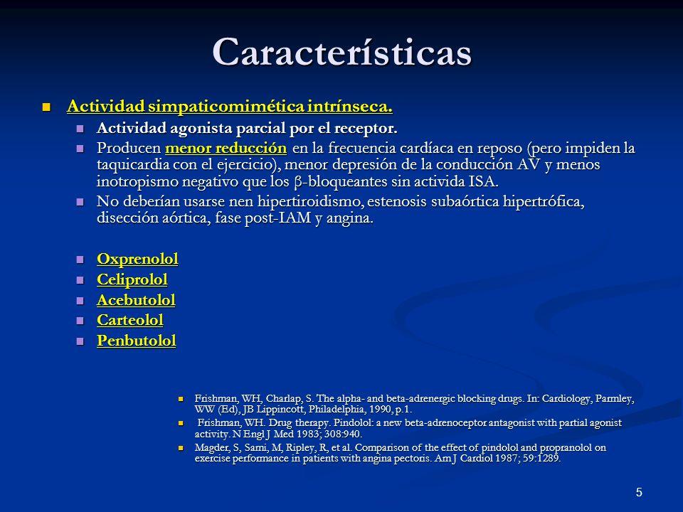 5 Características Actividad simpaticomimética intrínseca. Actividad simpaticomimética intrínseca. Actividad agonista parcial por el receptor. Activida