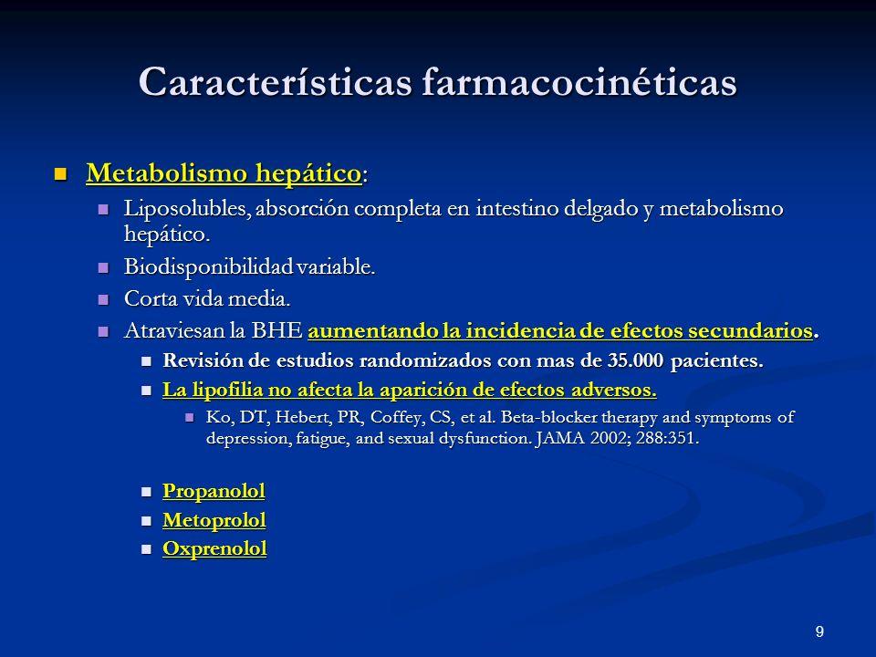 9 Características farmacocinéticas Metabolismo hepático: Metabolismo hepático: Liposolubles, absorción completa en intestino delgado y metabolismo hep