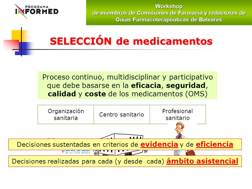 Proceso continuo, multidisciplinar y participativo que debe basarse en la eficacia, seguridad, calidad y coste de los medicamentos (OMS) SELECCIÓN de medicamentos Organización sanitaria Centro sanitario Profesional sanitario Decisiones sustentadas en criterios de evidencia y de eficiencia Decisiones realizadas para cada (y desde cada) ámbito asistencialWorkshop de miembros de Comisiones de Farmacia y redactores de Guías Farmacoterapéuticas de Baleares