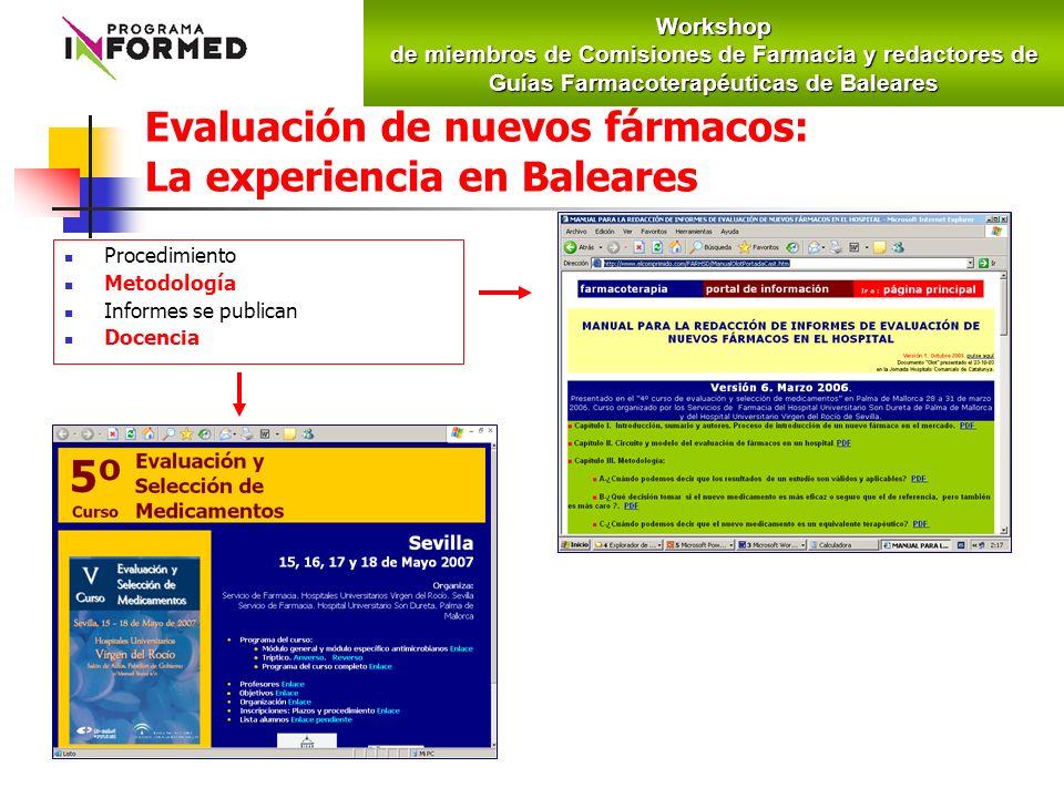 Evaluación de nuevos fármacos: La experiencia en Baleares Procedimiento Metodología Informes se publican DocenciaWorkshop de miembros de Comisiones de Farmacia y redactores de Guías Farmacoterapéuticas de Baleares