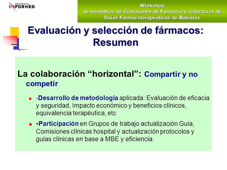 La colaboración horizontal: Compartir y no competir -Desarrollo de metodología aplicada: Evaluación de eficacia y seguridad, Impacto económico y benef