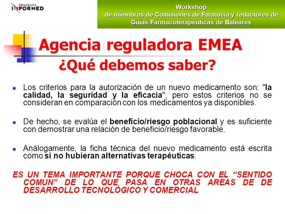 Agencia reguladora EMEA ¿Qué debemos saber? Los criterios para la autorización de un nuevo medicamento son:
