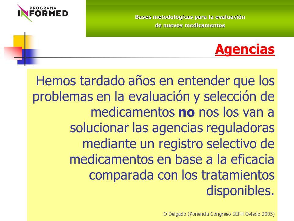 Agencias Hemos tardado años en entender que los problemas en la evaluación y selección de medicamentos no nos los van a solucionar las agencias reguladoras mediante un registro selectivo de medicamentos en base a la eficacia comparada con los tratamientos disponibles.