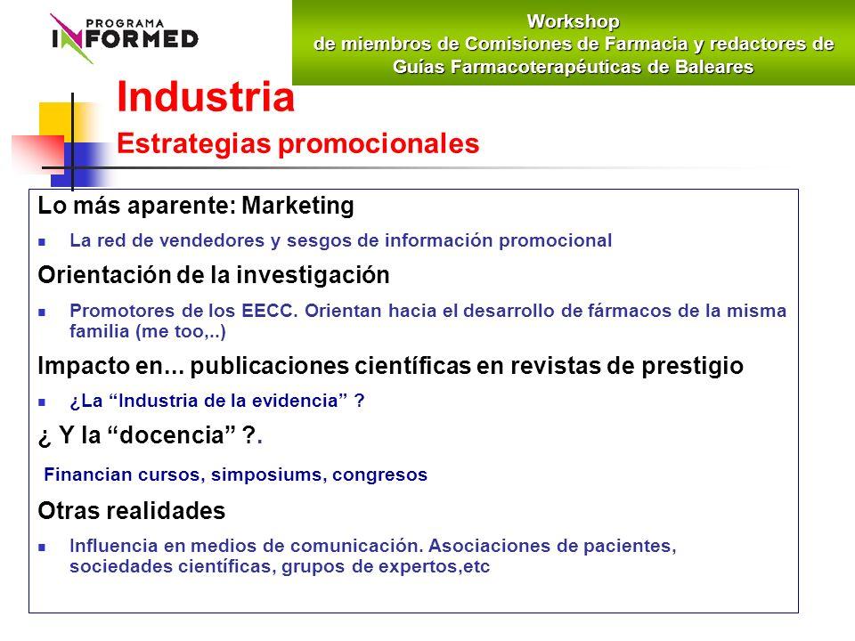 Industria Estrategias promocionales Lo más aparente: Marketing La red de vendedores y sesgos de información promocional Orientación de la investigació