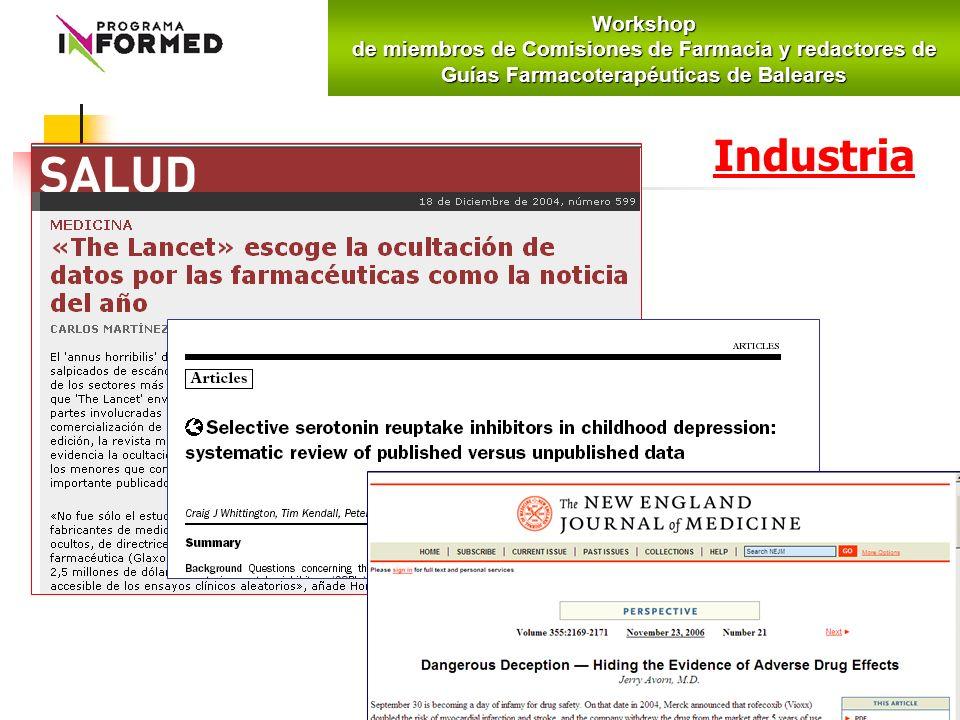 IndustriaWorkshop de miembros de Comisiones de Farmacia y redactores de Guías Farmacoterapéuticas de Baleares