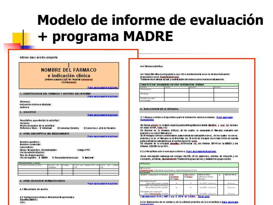 Modelo de informe de evaluación + programa MADRE