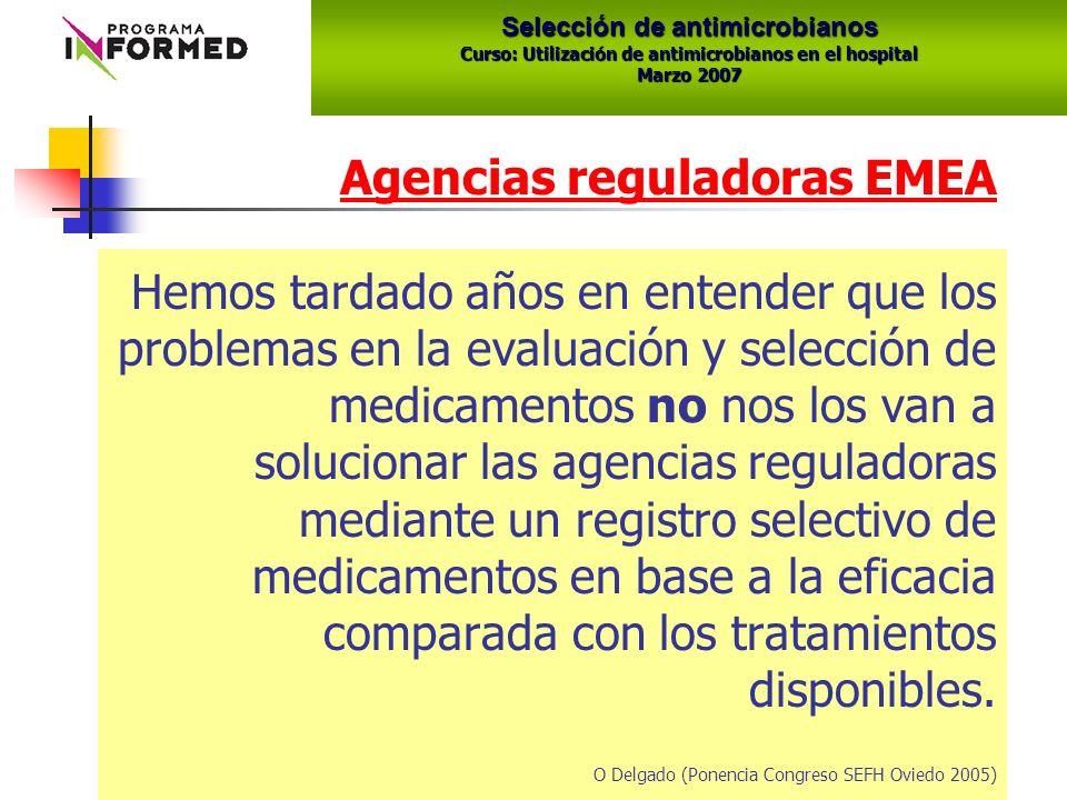 Agencias reguladoras EMEA Hemos tardado años en entender que los problemas en la evaluación y selección de medicamentos no nos los van a solucionar las agencias reguladoras mediante un registro selectivo de medicamentos en base a la eficacia comparada con los tratamientos disponibles.