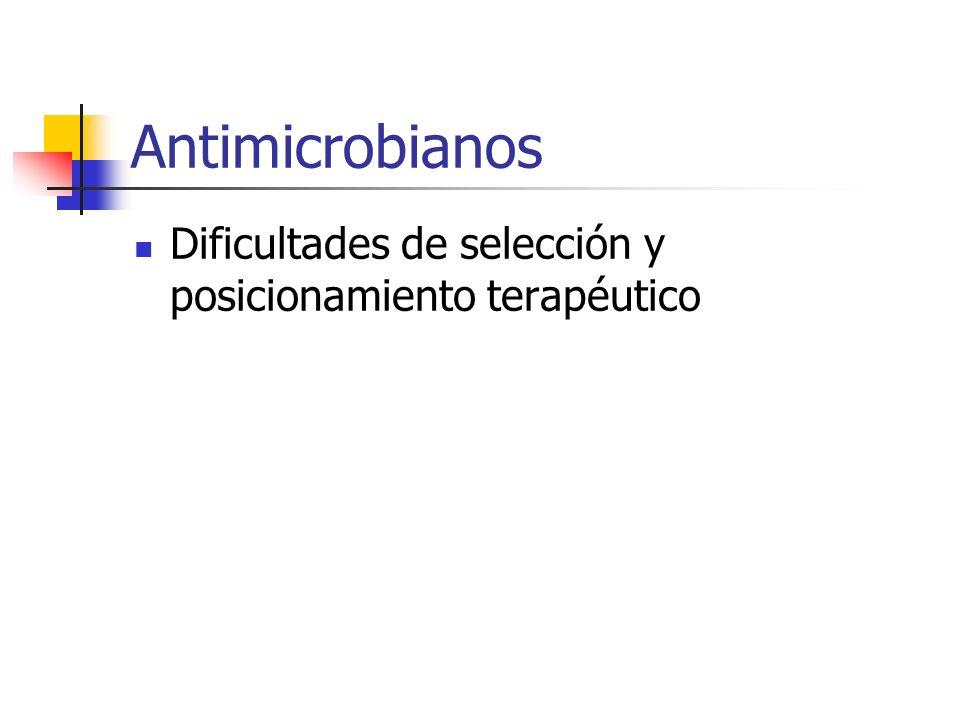 Antimicrobianos Dificultades de selección y posicionamiento terapéutico