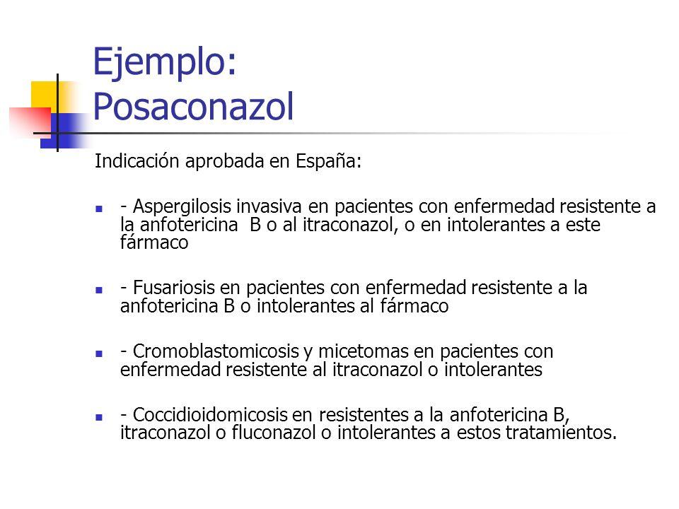Ejemplo: Posaconazol Indicación aprobada en España: - Aspergilosis invasiva en pacientes con enfermedad resistente a la anfotericina B o al itraconazol, o en intolerantes a este fármaco - Fusariosis en pacientes con enfermedad resistente a la anfotericina B o intolerantes al fármaco - Cromoblastomicosis y micetomas en pacientes con enfermedad resistente al itraconazol o intolerantes - Coccidioidomicosis en resistentes a la anfotericina B, itraconazol o fluconazol o intolerantes a estos tratamientos.