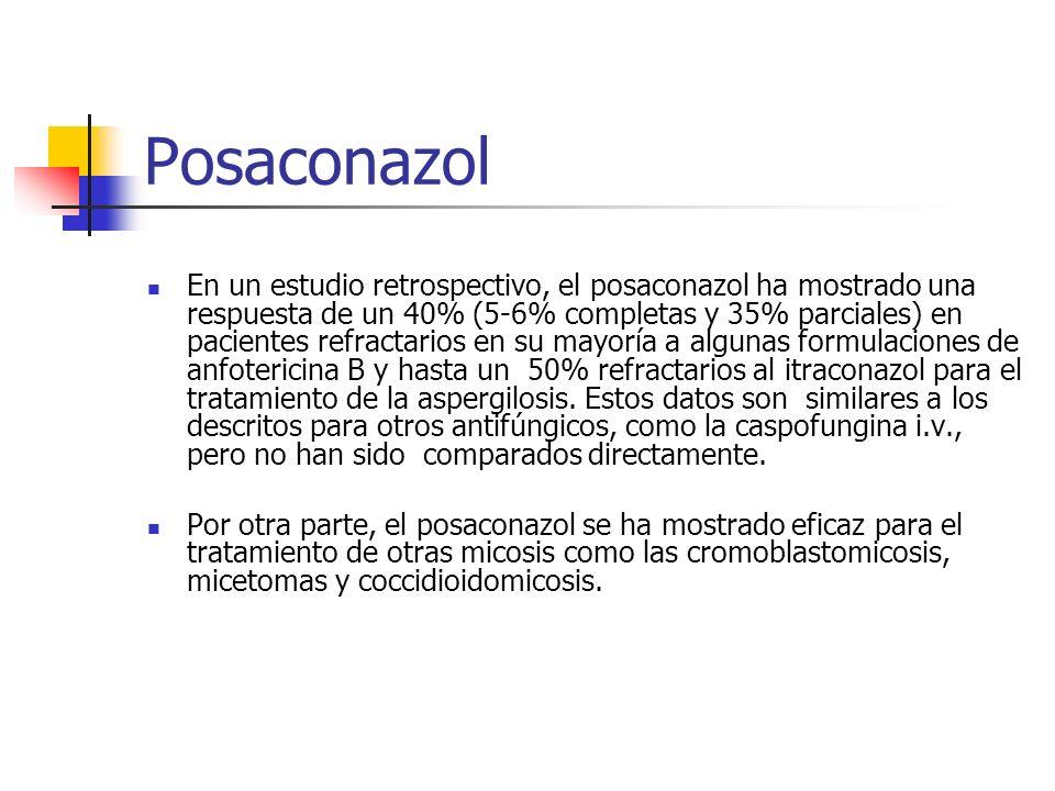 Posaconazol En un estudio retrospectivo, el posaconazol ha mostrado una respuesta de un 40% (5-6% completas y 35% parciales) en pacientes refractarios en su mayoría a algunas formulaciones de anfotericina B y hasta un 50% refractarios al itraconazol para el tratamiento de la aspergilosis.