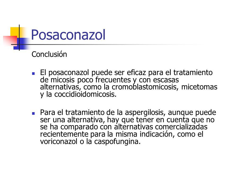 Posaconazol Conclusión El posaconazol puede ser eficaz para el tratamiento de micosis poco frecuentes y con escasas alternativas, como la cromoblastomicosis, micetomas y la coccidioidomicosis.