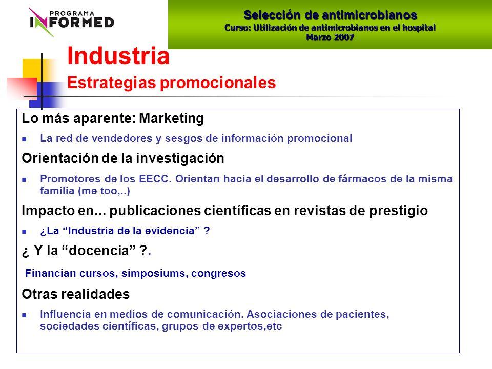 Industria Estrategias promocionales Lo más aparente: Marketing La red de vendedores y sesgos de información promocional Orientación de la investigación Promotores de los EECC.