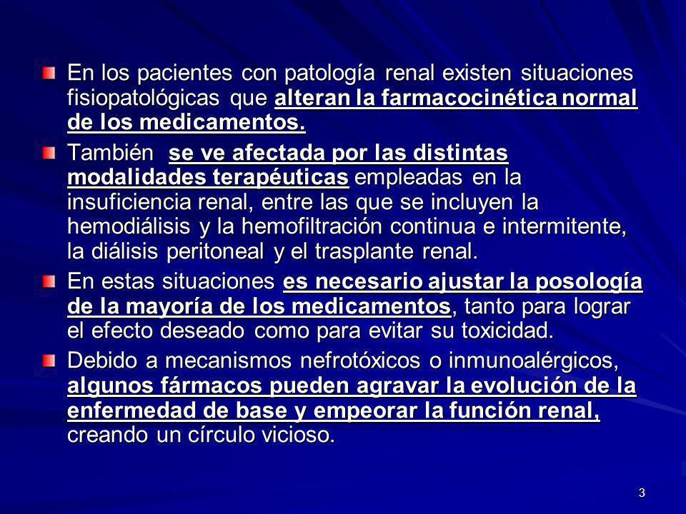 14 La insuficiencia renal altera la unión de los fármacos a las proteínas plasmáticas.