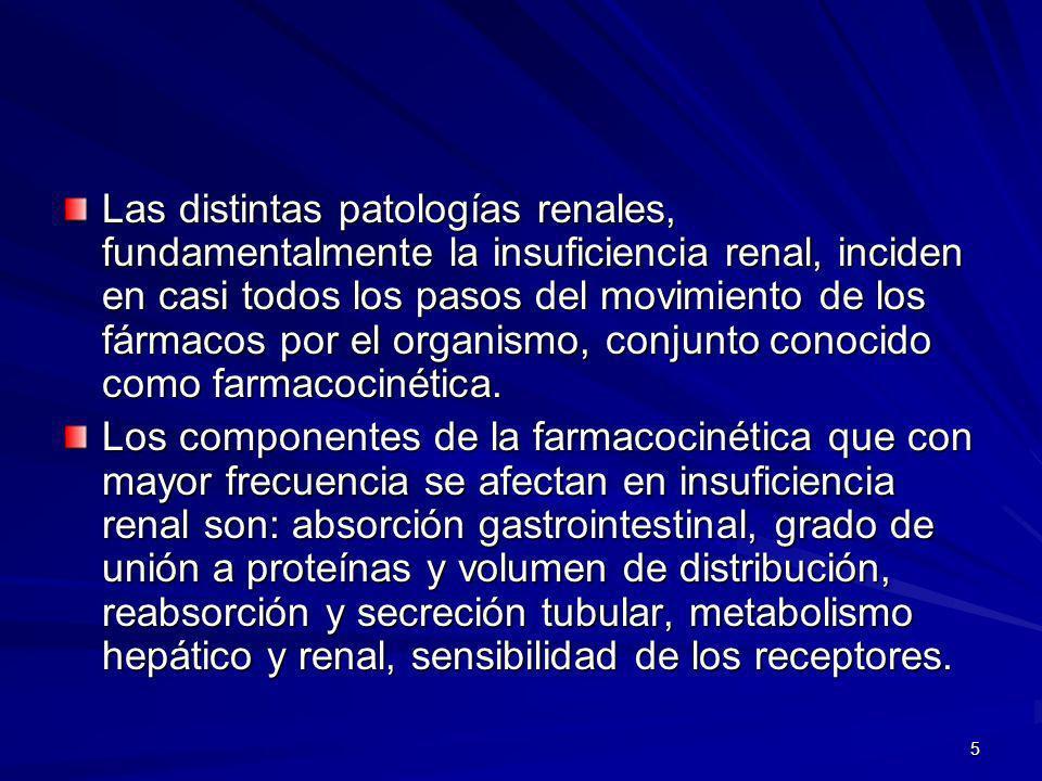 16 La insuficiencia renal altera la unión de los fármacos a las proteínas plasmáticas.