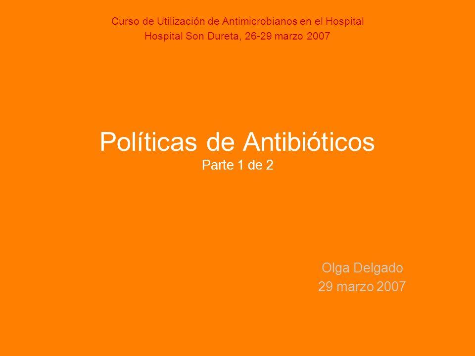 Evolución del consumo en Hospital Son Dureta de antibióticos Fuente Servicio de Farmacia.