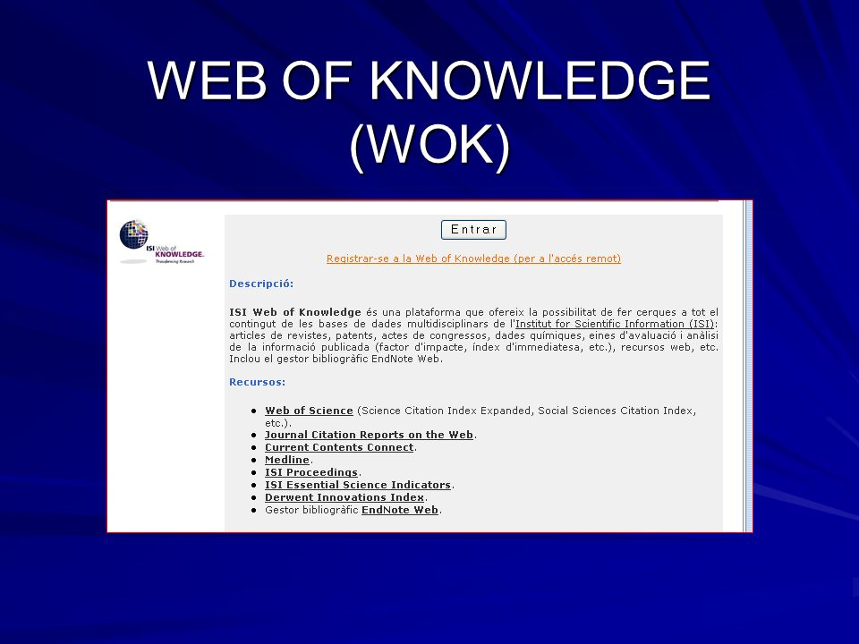 WEB OF KNOWLEDGE (WOK)