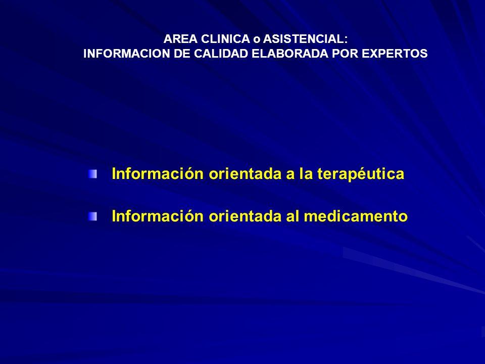 Información orientada a la terapéutica Información orientada al medicamento AREA CLINICA o ASISTENCIAL: INFORMACION DE CALIDAD ELABORADA POR EXPERTOS