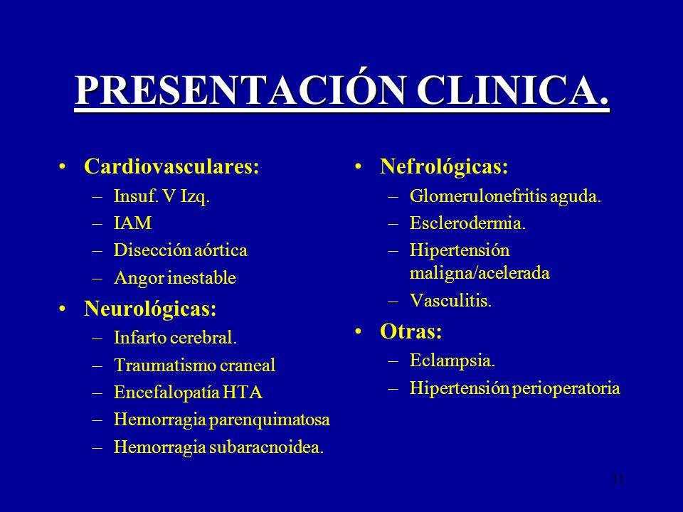 11 PRESENTACIÓN CLINICA. Cardiovasculares: –Insuf. V Izq. –IAM –Disección aórtica –Angor inestable Neurológicas: –Infarto cerebral. –Traumatismo crane